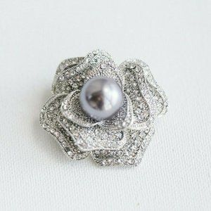 Floral Rose Flower  CZ and Faux Pearl  Pin Broach